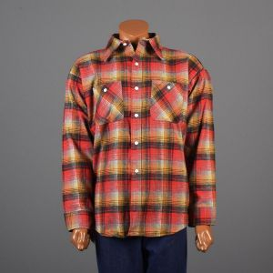 XXL Mens 1960s Shirt Red Yellow and Gray Plaid Flannel Long Sleeve Collared Button Down Deadstock - Fashionconstellate.com