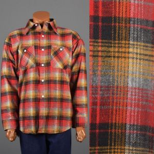 XXL 1960s Shirt Red Yellow and Gray Plaid Flannel Long Sleeve Button Down Deadstock