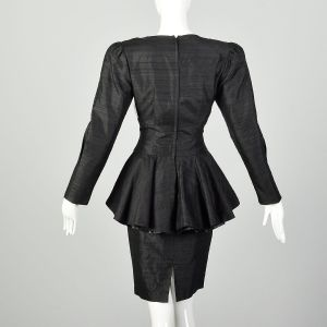 Medium 1980s Black Silk Dress Cocktail Peplum Gold Beaded Appliqué  - Fashionconstellate.com