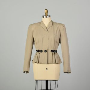 XS 1940s Jacket Wasp Waist Tan Fitted Damaged Long Sleeve