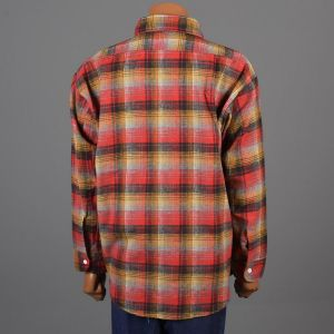 XXL 1960s Shirt Red Yellow and Gray Plaid Flannel Long Sleeve Button Down Deadstock - Fashionconstellate.com