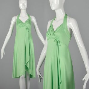 XXS 1970s Green Halter Dress Back Zip Pleating Flowing Wrap Style Skirt and Empire Waist