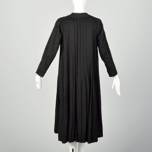 Small 1910s Black Wool Coat Edwardian Pleated Outerwear - Fashionconstellate.com