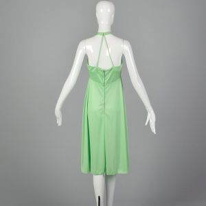 XXS 1970s Green Halter Dress Back Zip Pleating Flowing Wrap Style Skirt and Empire Waist - Fashionconstellate.com