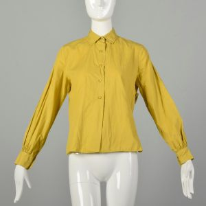 Large 1950s Shirt Button Up Yellow Chartreuse Long Sleeve Blouse