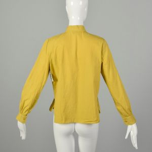 Large 1950s Shirt Button Up Yellow Chartreuse Long Sleeve Blouse - Fashionconstellate.com