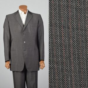 Large 42L 1980s Mens  Suit Red and Gray Stripe Three Button Double Vent Pleated Front Pants