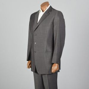 Large 42L 1980s Mens  Suit Red and Gray Stripe Three Button Double Vent Pleated Front Pants  - Fashionconstellate.com