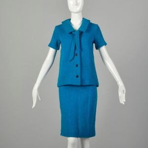 Small 1960s Skirt Set Maternity Blue Knit Outfit