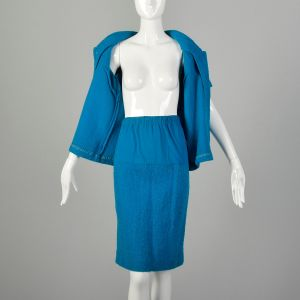Small 1960s Skirt Set Maternity Blue Knit Outfit - Fashionconstellate.com