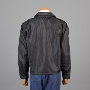 XL 1960s Jacket Black Windbreaker Nylon Zip Front Hooded Car Club Deadstock - Fashionconstellate.com