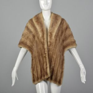 1950s Fur Stole Brown Mink Wrap Evening Formal Winter Outerwear Draped Shawl