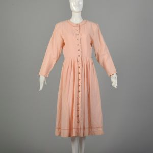 Large 1980s Dress Modest Pink Long Sleeve Casual Midi