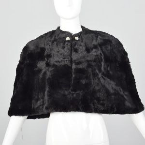 1940s Black Sheared Fur Stole Red Satin Lining Fur Outerwear Glamorous