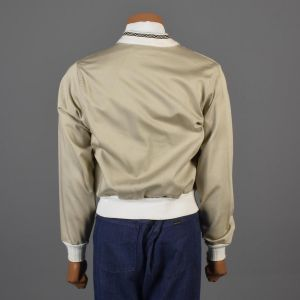 Small Mens 1960s Tan Gaberdine Jacket White Ribbed Knit Trim Lightweight Casual Sportswear  - Fashionconstellate.com