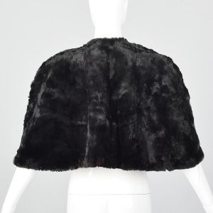 1940s Black Sheared Fur Stole Red Satin Lining Fur Outerwear Glamorous  - Fashionconstellate.com