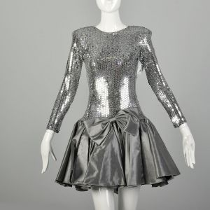 XS 1980s Party Dress Silver Sequin Drop Waist Bow Long Sleeve