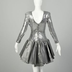 XS 1980s Party Dress Silver Sequin Drop Waist Bow Long Sleeve - Fashionconstellate.com