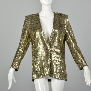 Medium 1980s Sonia Rykiel Blazer Gold Sequin Metallic Jacket Cocktail Formal