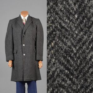 Medium 40 1950s Car Coat Gray and Black Herringbone Tweed Overcoat Long Sleeve