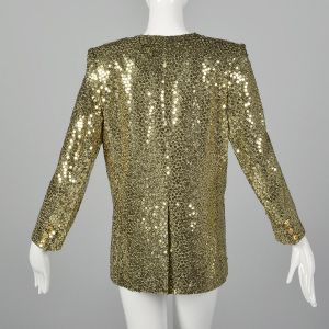 Medium 1980s Sonia Rykiel Blazer Gold Sequin Metallic Jacket Cocktail Formal  - Fashionconstellate.com