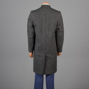 Medium 40 1950s Car Coat Gray and Black Herringbone Tweed Overcoat Long Sleeve - Fashionconstellate.com