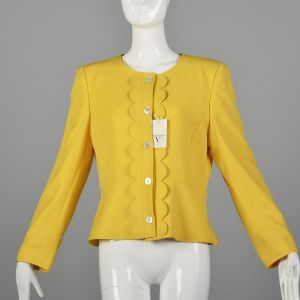 Medium 1990s Valentino Miss V Jacket Spring Yellow Scalloped Trim Deadstock Blazer