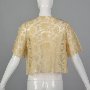 Small 1990s Ivory White Lace Top Embroidered Floral Applique Cropped Bolero Jacket   - Fashionconstellate.com