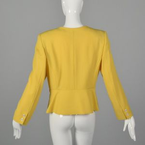 Medium 1990s Valentino Miss V Jacket Spring Yellow Scalloped Trim Deadstock Blazer  - Fashionconstellate.com