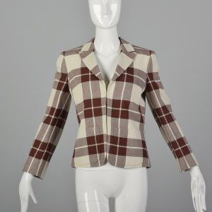 XS 1980s Salvatore Ferragamo Beige Blazer Brown Plaid Designer Open Front Patch Pockets