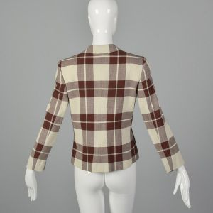 XS 1980s Salvatore Ferragamo Beige Blazer Brown Plaid Designer Open Front Patch Pockets - Fashionconstellate.com