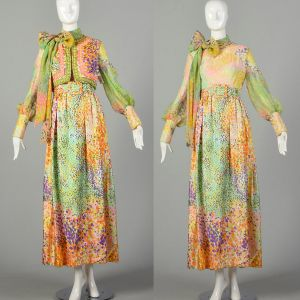 Medium 1970s Victor Costa Maxi Dress Set Beaded Vest Long Sleeve Abstract Floral Print Pussy Bow