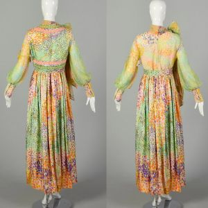 Medium 1970s Victor Costa Maxi Dress Set Beaded Vest Long Sleeve Abstract Floral Print Pussy Bow  - Fashionconstellate.com