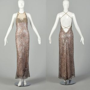 Bob Mackie Backless Formal Gown Metallic Silver Lace Beaded Nude Illusion Dress