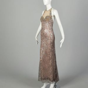 Bob Mackie Backless Formal Gown Metallic Silver Lace Beaded Nude Illusion Dress - Fashionconstellate.com