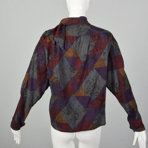XL Emanuel Ungaro Paralléle Top 1980s Batwing Long Sleeve Green Geometric Print Blouse - Fashionconstellate.com