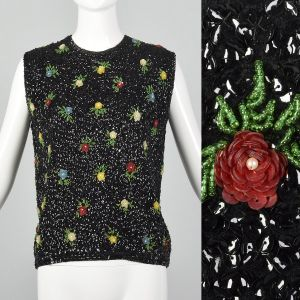 Medium 1960s Novelty Black Top Beaded Floral Sequins Wool Knit Sleeveless Sweater Blouse