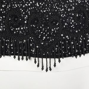 Medium 1960s Tank Top Black Beaded Blouse Sleeveless Scoop Neck Sequin Embellished Cocktail Formal  - Fashionconstellate.com