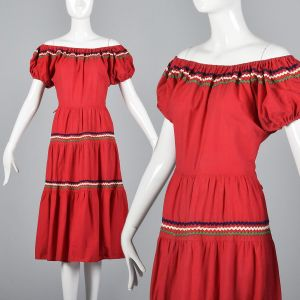 Medium 1950s Bohemian Off Shoulder Dress Red Cotton Rockabilly Square Dance