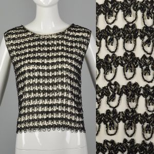 Large 1960s Top Sleeveless Beaded Blouse 60s Shell Blouse Tank Top Black and White Blouse Stripe