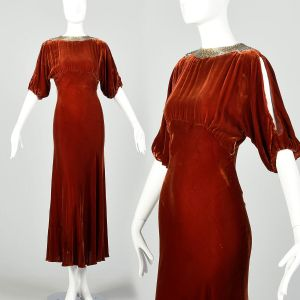 Small 1930s Silk Velvet Dress Tawny Old Hollywood Glamorous Evening Gown