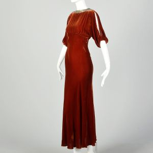 Small 1930s Silk Velvet Dress Tawny Old Hollywood Glamorous Evening Gown - Fashionconstellate.com