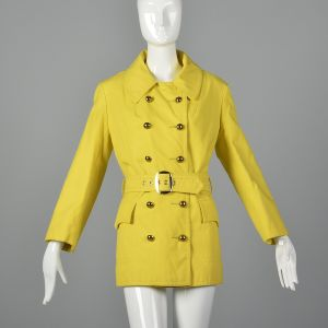 Small 1960s Anne Klein Yellow Cotton Trench Coat Double Breasted Mod Outerwear