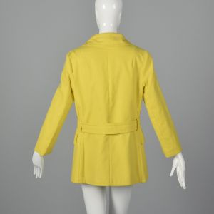 Small 1960s Anne Klein Yellow Cotton Trench Coat Double Breasted Mod Outerwear  - Fashionconstellate.com