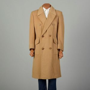Large 1970s Coat Tan Double Breasted Trench Winter Overcoat