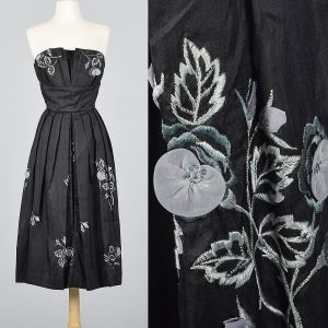 Small 1950s Strapless Silk Dress Black Floral Embroidery Hidden Front Panel Cocktail