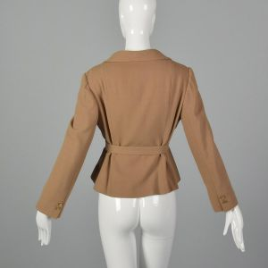 Small 1970s Camel Crepe Jacket with Belt Saks Fifth Avenue - Fashionconstellate.com