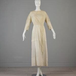 Small 1910s Edwardian Cotton Lawn Dress Embroidered Lace - Fashionconstellate.com
