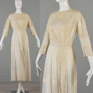 Small 1910s Edwardian Cotton Lawn Dress Embroidered Lace