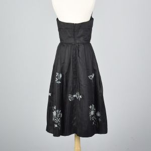 Small 1950s Strapless Silk Dress Black Floral Embroidery Hidden Front Panel Cocktail  - Fashionconstellate.com